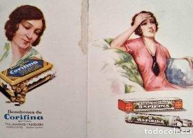 1929 Díptico anuncio Aspirina Bayer. Bombones de corifina