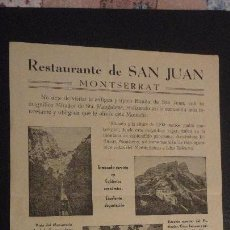 Catálogos publicitarios: ANTIGUO PASQUIN PUBLICITARIO.RESTAURANTE SAN JUAN.MONTSERRAT.. Lote 148230642