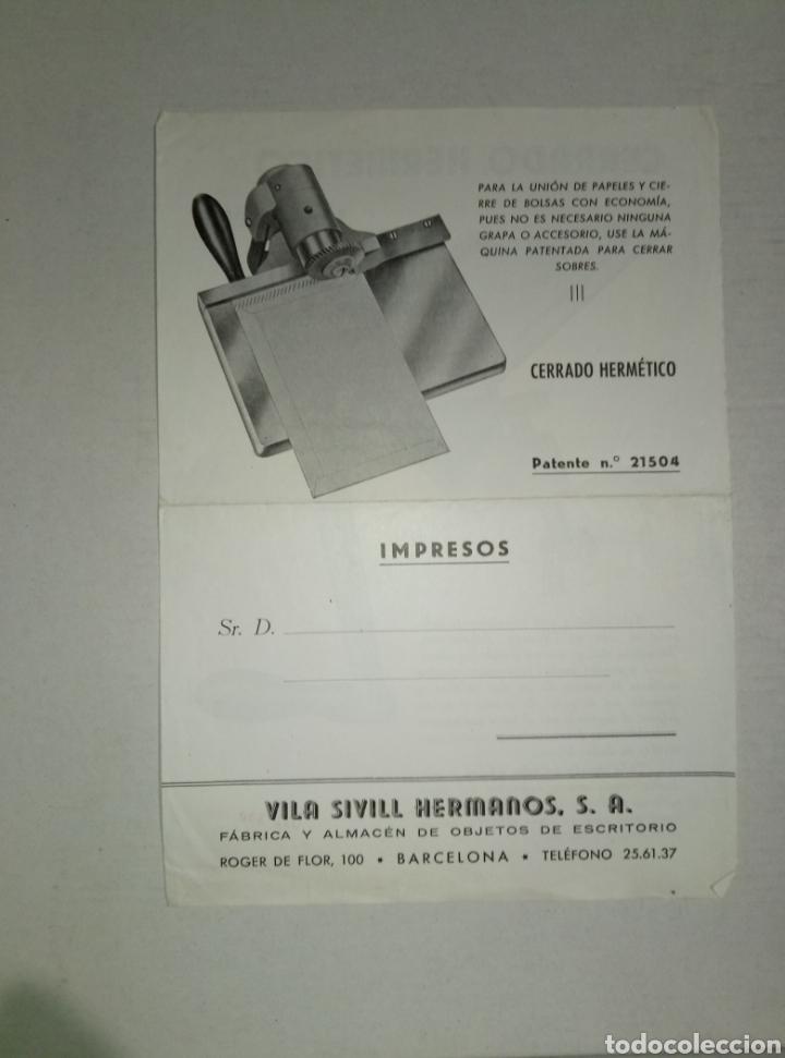 FOLLETO PUBLICIDAD HNOS VILA SIVILL CERRADO HERMÉTICO (Coleccionismo - Catálogos Publicitarios)