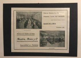 Publicidad Fábrica de tejidos de seda Rovira, Roca y Cª 18x25 cm