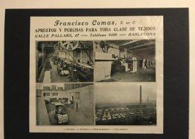 Publicidad Francisco Comas. Aprestos y perchas para toda clase de tejidos 18x25 cm