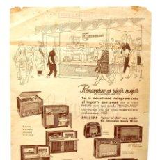 Catálogos publicitarios: CATALOGO PUBLICIDAD ORIGINAL DE RADIOS PHILIPS 1955. Lote 149236166