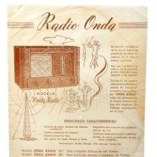 Catálogos publicitarios: CATALOGO PUBLICIDAD ORIGINAL DE RADIO ONDA. AÑOS 50. Lote 149236602