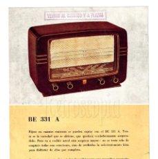 Catálogos publicitarios: CATALOGO PUBLICIDAD ORIGINAL DE RADIOS PHILIPS. MODELO 331 A. AÑOS 50 . Lote 149245674