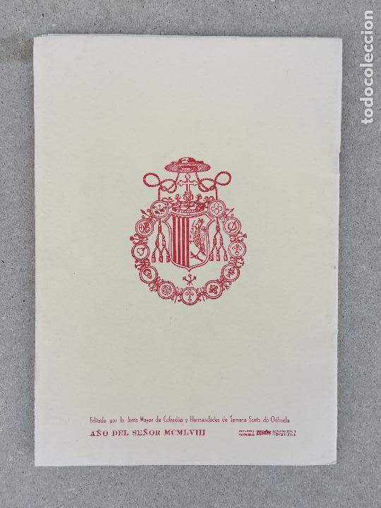 Catálogos publicitarios: PROGRAMA SEMANA SANTA EN ORIHUELA AÑO 1960. ALICANTE, COMUNIDAD VALENCIANA FIESTAS - Foto 2 - 150482894