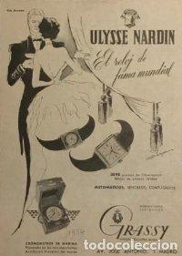 1954 Publicidad Grassy. Unión relojera suiza 18x25 cm