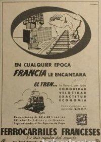 1954 Publicidad Ferrocarriles franceses 18x25 cm