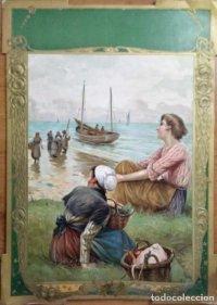 Cartel en relieve. Finales del siglo XIX. Mujeres pescando 51x36,5 cm
