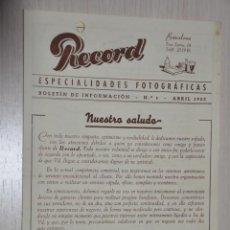 Catálogos publicitarios: CATALOGO PUBLICITARIO ESPECIALIDADES FOTOGRAFICAS RECORD, BARCELONA, Nº 1 ABRIL 1953. Lote 151450178