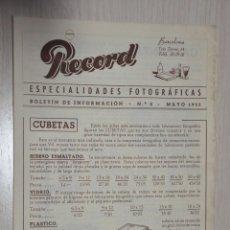 Catálogos publicitarios: CATALOGO PUBLICITARIO ESPECIALIDADES FOTOGRAFICAS RECORD, BARCELONA, Nº 2 MAYO 1953. Lote 151450214