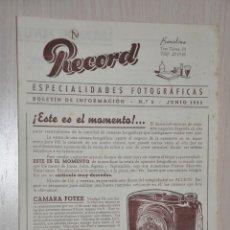 Catálogos publicitarios: CATALOGO PUBLICITARIO ESPECIALIDADES FOTOGRAFICAS RECORD, BARCELONA, Nº 3 JUNIO 1953. Lote 151450242
