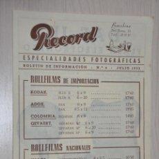 Catálogos publicitarios: CATALOGO PUBLICITARIO ESPECIALIDADES FOTOGRAFICAS RECORD, BARCELONA, Nº 4 JULIO 1953. Lote 151450282
