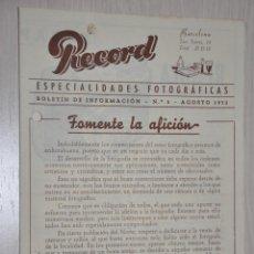 Catálogos publicitarios: CATALOGO PUBLICITARIO ESPECIALIDADES FOTOGRAFICAS RECORD, BARCELONA, Nº 5 AGOSTO 1953. Lote 151450322