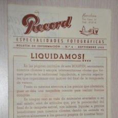 Catálogos publicitarios: CATALOGO PUBLICITARIO ESPECIALIDADES FOTOGRAFICAS RECORD, BARCELONA, Nº 6 SEPTIEMBRE 1953. Lote 151450374