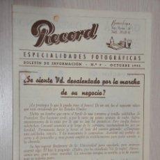 Catálogos publicitarios: CATALOGO PUBLICITARIO ESPECIALIDADES FOTOGRAFICAS RECORD, BARCELONA, Nº 7 OCTUBRE 1953. Lote 151450430
