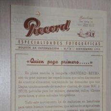 Catálogos publicitarios: CATALOGO PUBLICITARIO ESPECIALIDADES FOTOGRAFICAS RECORD, BARCELONA, Nº 8 NOVIEMBRE 1953. Lote 151450470