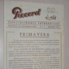 Catálogos publicitarios: CATALOGO PUBLICITARIO ESPECIALIDADES FOTOGRAFICAS RECORD, BARCELONA, Nº 9 MARZO 1954. Lote 151450530