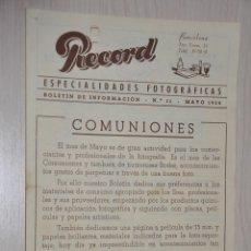 Catálogos publicitarios: CATALOGO PUBLICITARIO ESPECIALIDADES FOTOGRAFICAS RECORD, BARCELONA, Nº 11 MAYO 1954. Lote 151450634