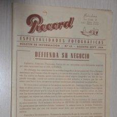 Catálogos publicitarios: CATALOGO PUBLICITARIO ESPECIALIDADES FOTOGRAFICAS RECORD, BARCELONA, Nº 13 AGOSTO-SEPTIEMBRE 1954. Lote 151450722