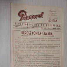 Catálogos publicitarios: CATALOGO PUBLICITARIO ESPECIALIDADES FOTOGRAFICAS RECORD, BARCELONA, Nº 14 OCTUBRE 1954. Lote 151450766