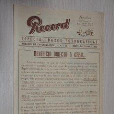 Catálogos publicitarios: CATALOGO PUBLICITARIO ESPECIALIDADES FOTOGRAFICAS RECORD, BARCELONA, Nº 15 NOVIEMBRE-DICIEMBRE 1954. Lote 151450818