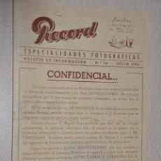 Catálogos publicitarios: CATALOGO PUBLICITARIO ESPECIALIDADES FOTOGRAFICAS RECORD, BARCELONA, Nº 19 JULIO 1955. Lote 151450970
