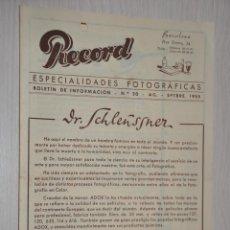 Catálogos publicitarios: CATALOGO PUBLICITARIO ESPECIALIDADES FOTOGRAFICAS RECORD, BARCELONA, Nº 20 AGOSTO-SEPTIEMBRE 1955. Lote 151451006
