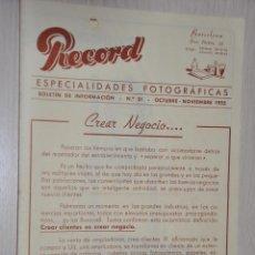 Catálogos publicitarios: CATALOGO PUBLICITARIO ESPECIALIDADES FOTOGRAFICAS RECORD, BARCELONA, Nº 21 OCTUBRE-NOVIEMBRE 1955. Lote 151451018