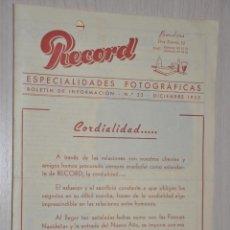 Catálogos publicitarios: CATALOGO PUBLICITARIO ESPECIALIDADES FOTOGRAFICAS RECORD, BARCELONA, Nº 22 DICIEMBRE 1955. Lote 151451066