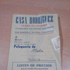 Catálogos publicitarios: ANTIGUO CATALOGO 1956 PELUQUERIA CASA RODRIGUEZ VALENCIA - BUEN ESTADO - VER FOTOS. Lote 151467494