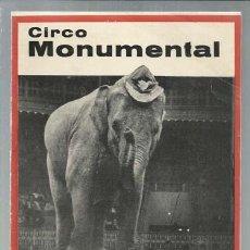 Catálogos publicitarios: PROGRAMA CIRCO MONUMENTAL, 1964, MUY BUEN ESTADO. Lote 151733774