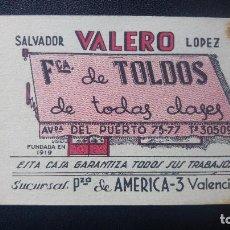 Catálogos publicitarios: PUBLICIDAD SALVADOR VALERO LOPEZ FABRICA TOLDOS VALENCIA AÑOS 40. Lote 151853570