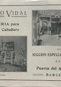 1915 Publicidad sastrería Adolfo Vidal. Barcelona 22,4x14,4 cm
