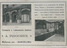 Publicidad farmacia y laboratorio químico A. Puigoriol