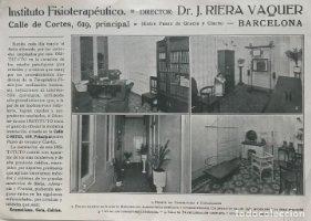 Publicidad Instituto Fisioterapéutico Dr. J. Riera Vaquer 22,6x16 cm