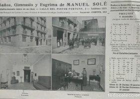 1915 Publicidad Baños, Gimnasio y Esgrima de Manuel Solé 22,7x15,6 cm