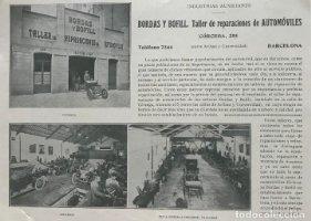 1915 Publicidad Bordas y Bofill. Taller de reparaciones de Automóviles 21,1x15,5 cm
