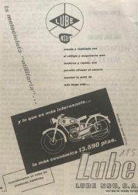 1957 Publicidad motocicletas Lube 11,6x16 cm