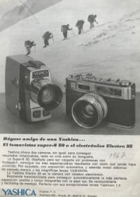 1967 Publicidad cámaras fotografía Yashica 12,8x17,8 cm