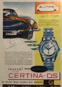 1960 Publicidad Reloj Certina Ds, Coñac 1850 Valdespino 13,5x18,6 cm
