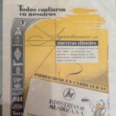 Catálogos publicitarios: INDUSTRIAS DE MENDOZA, SA - VITORIA - PUBLICIDAD EN CARRETERAS 1955. Lote 152446066