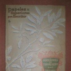 Catálogos publicitarios: PAPELES SUPERIORES PARA ESCRIBIR. SUCESORES DE TORRAS HERMANOS, BARCELONA 1908. Lote 152448354
