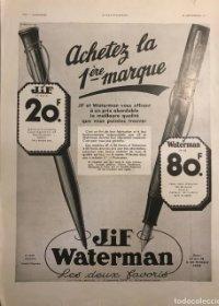 1934 Publicidad estilográficas Waterman 28,6x38,6 cm