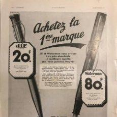 Catálogos publicitarios: 1934 PUBLICIDAD ESTILOGRÁFICAS WATERMAN 28,6X38,6 CM. Lote 153556946