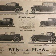 Catálogos publicitarios: 1926 PUBLICIDAD COCHES ANTIGUOS 28,1X37,1CM. Lote 153558094