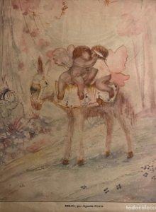 Idilio. Ilustración antigua dos ángeles besándose 25,5x31,3 cm