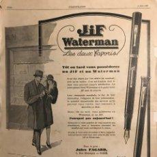 Catálogos publicitarios: 1927 PUBLICIDAD ESTILOGRÁFICAS WATERMAN 30X40,3 CM. Lote 153585010