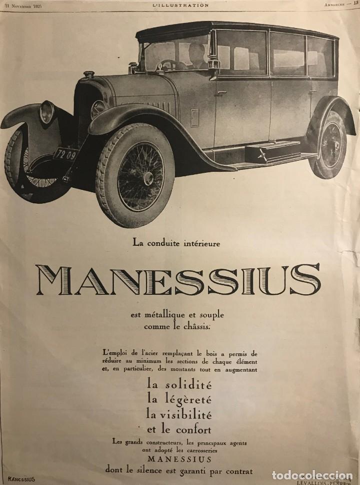1925 Publicidad automóviles Manessius 27,8x37,3 cm