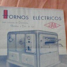 Catálogos publicitarios: ANTIGUA PUBLICIDAD HORNOS ELECTRICOS JAB.PASTELERIA.JORGE BASTENIER.BARCELONA AÑOS 40,50?. Lote 154724046