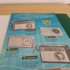 Catálogos publicitarios: ANTIGUO CATÁLOGO DE TRANSISTORES BLOQUES URI. 1961. Lote 154920078